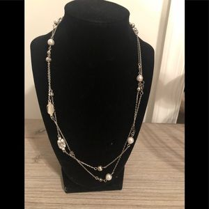 New!!  Silver and Pearl Necklace, 21""